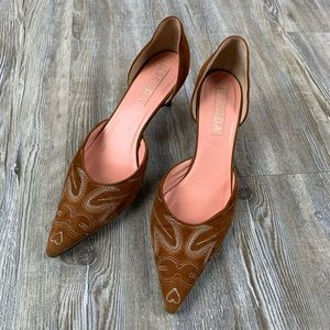 Escada Brown Suede Western Embroidered Kitten Heel